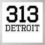 Detroit Area Code 313 Posters