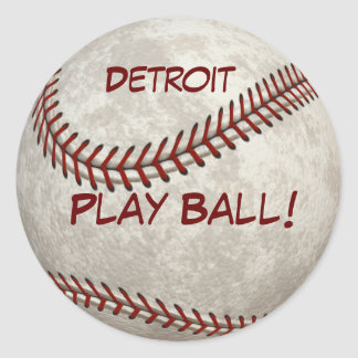 "Detroit Baseball  ""Play Ball!"" American Past-time Classic Round Sticker"
