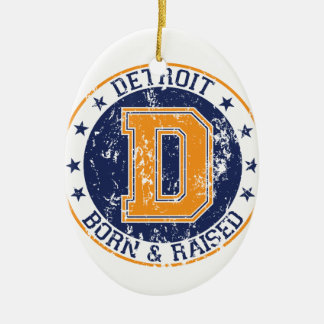 Detroit Born and Raised Double-Sided Oval Ceramic Christmas Ornament