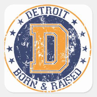 Detroit Born and Raised Square Stickers