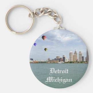 Detroit City Michigan Basic Round Button Keychain