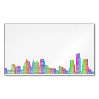 Detroit city skyline magnetic business card