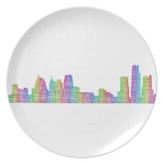 Detroit city skyline melamine plate