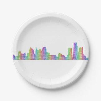 Detroit city skyline paper plate