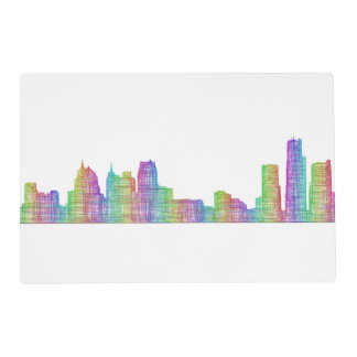 Detroit city skyline placemat