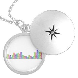 Detroit city skyline silver plated necklace