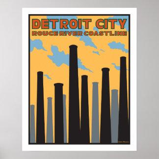 Detroit City Vintage Poster