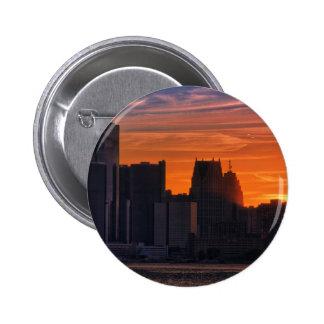Detroit Cityscape 0516 Pinback Buttons