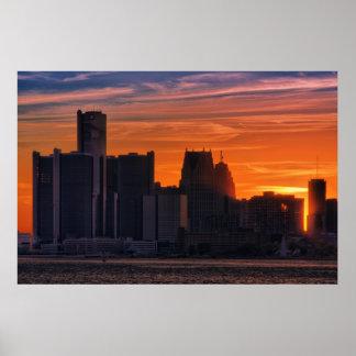 Detroit Cityscape #0516 Print