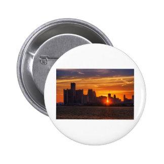 Detroit Cityscape 0527 Pinback Buttons
