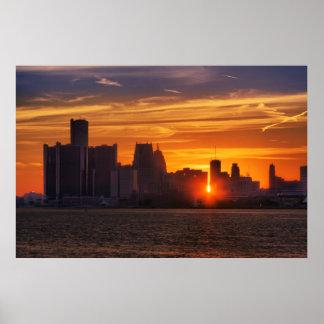 Detroit Cityscape #0527 Print