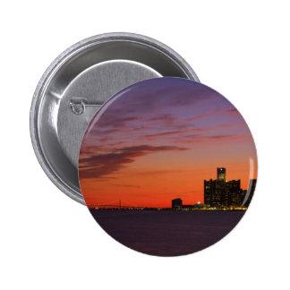 Detroit Cityscape 0552 Pinback Buttons