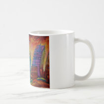 detroit, cityscape, abstract art, downtown, city, mug, coffee mug, fine art, detroit cityscape, buildings, structures, architecture, cities, Mug with custom graphic design