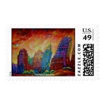detroit, buildings, art, postage, stamp, abstract art, detroit cityscape, michigan, cities, Selo postal com design gráfico personalizado