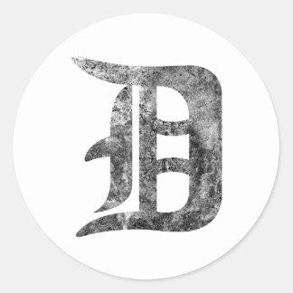 Detroit D wash Classic Round Sticker
