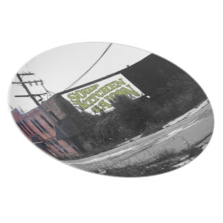 Detroit Downtown destroyed streets Plate