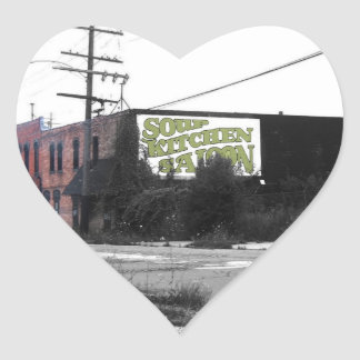 Detroit Downtown destroyed streets Heart Sticker