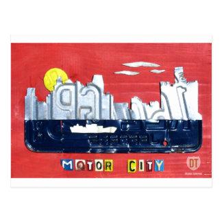 Detroit el arte de la placa del horizonte de la ci tarjeta postal