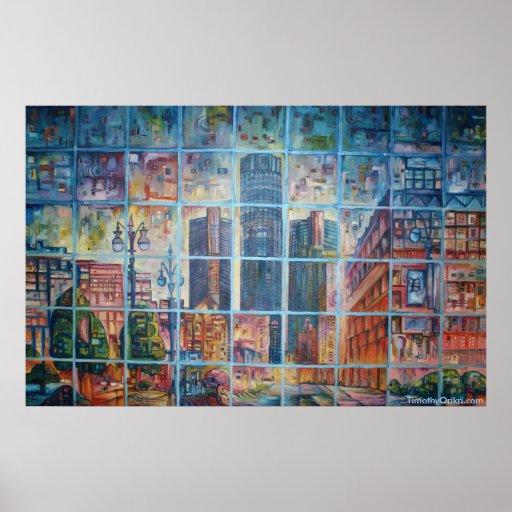 Detroit en mi mente I - impresión de la lona Poster