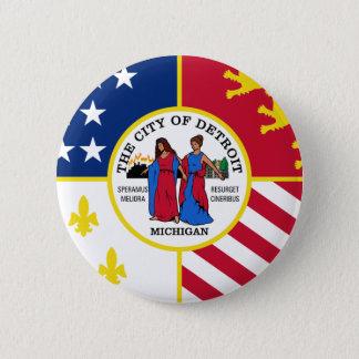 Detroit Flag Pinback Button
