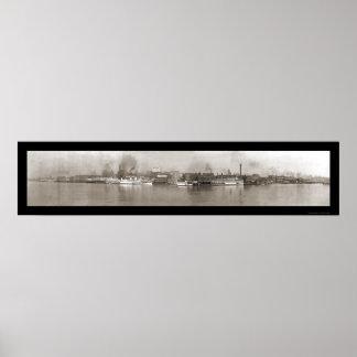 Detroit foto 1908 de la orilla del río del MI Impresiones