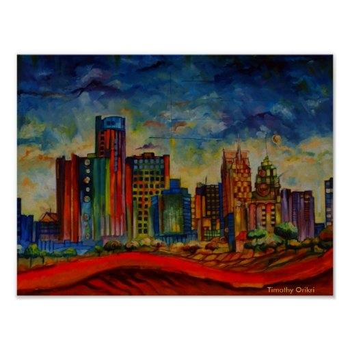 Detroit IV Cityscape - Canvas print
