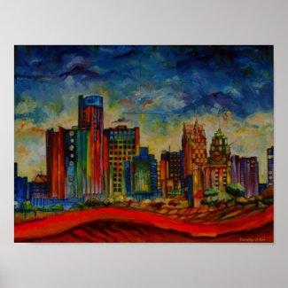 Detroit IV Cityscape Poster print