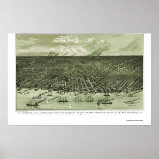 Detroit, mapa panorámico del MI - 1889 Impresiones
