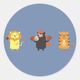 Detroit mascot animals classic round sticker