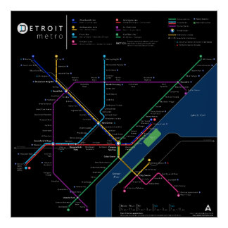 "Detroit Metro Poster 32"" x 32"" (Dark)"
