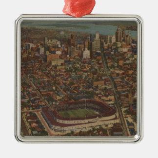 Detroit, MI - Aerial Briggs Baseball Stadium Metal Ornament