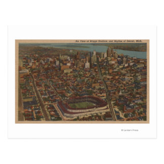 Detroit, MI - Aerial Briggs Baseball Stadium Postcard