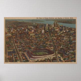 Detroit, MI - Aerial Briggs Baseball Stadium Poster