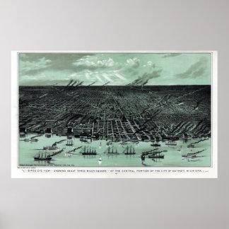 Detroit MI Panoramic Map DIGITALLY REMASTERED Poster