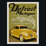 "Detroit, MI Postcard<br><div class=""desc"">Anderson Design Group is an award-winning illustration and design firm in Nashville,  Tennessee. Founder Joel Anderson directs a team of talented artists to create original poster art that looks like classic vintage advertising prints from the 1920s to the 1960s.</div>"