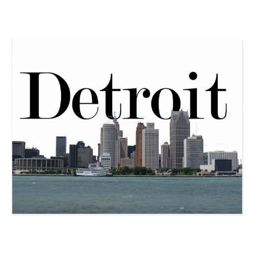 Detroit MI Skyline with Detroit in the Sky Postcards