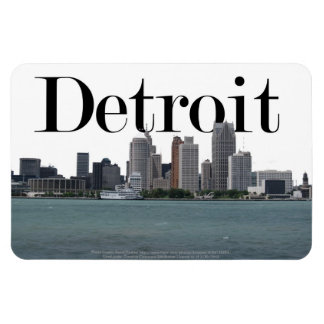 Detroit MI Skyline with Detroit in the Sky Rectangular Photo Magnet