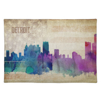 Detroit, MI | Watercolor City Skyline Cloth Placemat