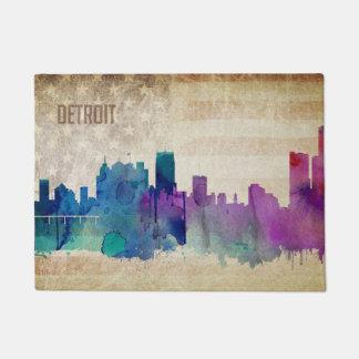 Detroit, MI   Watercolor City Skyline Doormat
