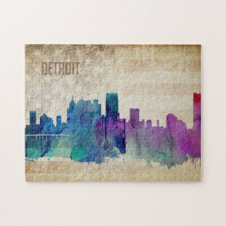 Detroit, MI | Watercolor City Skyline Jigsaw Puzzle