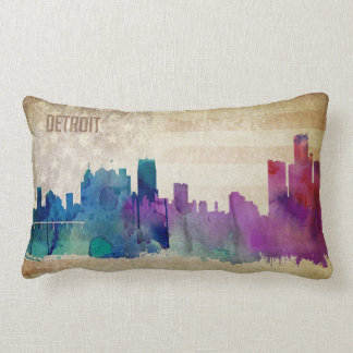 Detroit, MI   Watercolor City Skyline Lumbar Pillow