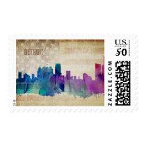 Detroit, MI | Watercolor City Skyline Postage