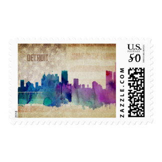 Detroit, MI | Watercolor City Skyline Postage