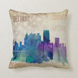 Detroit, MI | Watercolor City Skyline Throw Pillow
