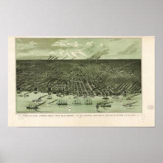 Detroit Michigan 1889 Antique Panoramic Map Poster