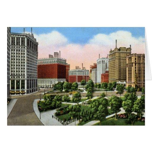 Detroit Michigan City View 1920 Greeting Card
