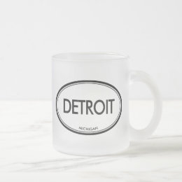 Detroit, Michigan Frosted Glass Coffee Mug