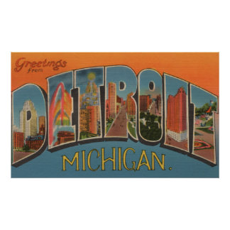 Detroit, Michigan - Large Letter Scenes 2 Poster