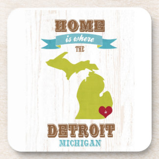 detroit, michigan Map – Home Is Where The Heart Is Beverage Coaster