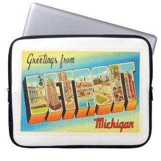 Detroit Michigan MI Old Vintage Travel Souvenir Laptop Sleeve